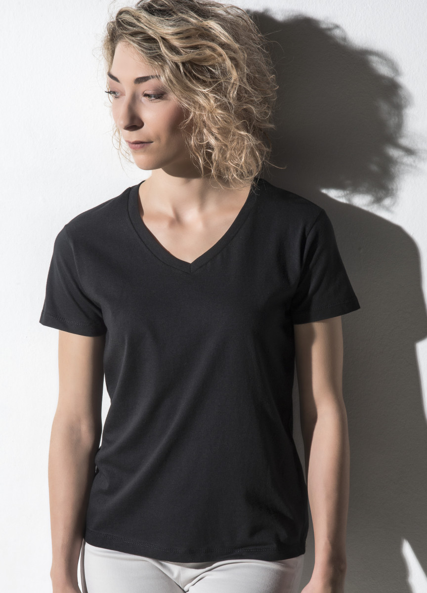 Nakedshirt Womens Fitted V Neck Tee