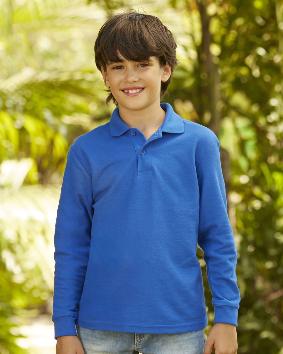 Childrens Long Sleeve 65/35 Pique Polo